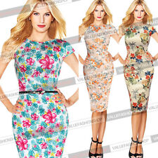 Womens Elegant Floral Summer Casual Party Wear to Work  Pencil Sheath Dress 422