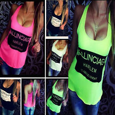 2015 New Women Sexy T-shirt Sleeveless Letter Print Loose-Fitting Tops Tank Vest