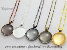 5kits 25mm Pendant Tray Blank Pendant Setting+Rolo Chain Necklace+Glass Domed