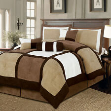 Brown White Bed Bag 7Pc Comforter Set Cal King Queen Home Bedroom Daybed Bedding