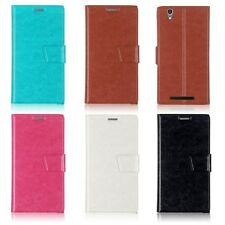For ZTE ZMAX Z970 Phone PU Leather Flip Wallet Card Case Cover Folio Pouch Stand