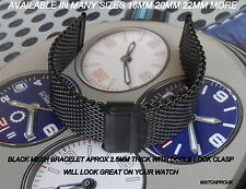BLACK STAINLES STEEL MESH BRACELET SHARK MILANES STRAP BAND FIT BREITLING  WATCH