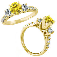 1 Carat Yellow & G-H Diamond Three Stone Eternity Wedding Ring 14K Yellow Gold