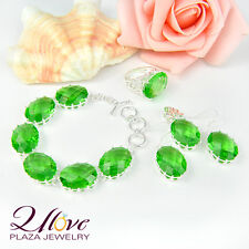 SET JEWELRY GREEN QUARTZ 925 STERLING SILVER RING EARRING PENDANT BRACELET