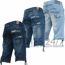 New Mens Enzo Denim Shorts Designer Branded Summer Faded Casual sizes 28 to 48