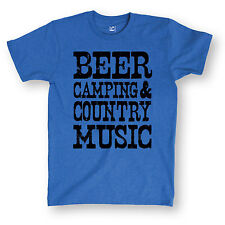 Beer Camping Country Music Funny Rural Drinking Humor Novelty - Mens T-Shirt
