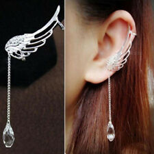 Women Angel Wing Silver Plated Crystal Chain Drop Dangle Ear Stud Clip Earrings