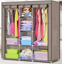 Double Easy to Assemble Portable Wardrobe Closet Large Space Storage Cabinet New