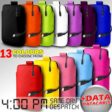 LEATHER PULL TAB POUCH SKIN CASE COVER & DATA CABLE FOR VARIOUS DELL PHONE