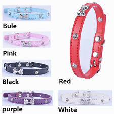 Pu Leather Dog Collar XS Bone Accessories Crystal Studded Collar For Small Dogs