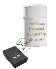 Personalised SLIM Zippo Brushed Chrome Cigarette Lighter Engraved Free 1600