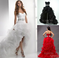 Fashion Hi-Lo Organza Bridal Gown Evening Cocktail Dresses Formal Prom Ballgown