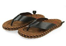 Mens comfortable genuine Leather flip flops slipper  beach Sandals Casual Shoes
