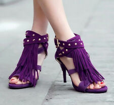 Fashion High Heel Women's Sandals Rivets Strappy Shoes Pumps Sexy Tassels