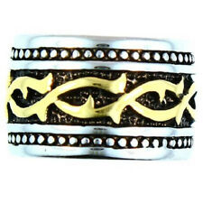 Stainless Steel  Wide Band Two Tone Tribal Ring - Men's
