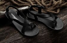 Mens flip flops gladiator genuine Leather strap slipper Sandals casual Shoes #