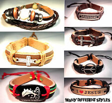 Mens Leather Bracelet Cuff Wrap Surfer Surf Wristband Black Brown Hemp Tribal