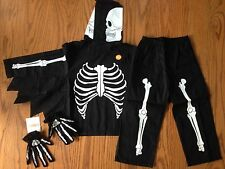 NWT Gymboree Spooky Glow-in-the-Dark Skeleton Costume & Gloves XS 3-4 Years New