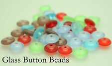 100 x Frosted Glass Button Beads For Jewellery Making Size (mm) 10