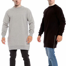New Mens Genetic Apparel Sweater Jumper Top Casual Longline Round Neck Side Zip