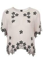 TOPSHOP GREY SHEER BEADED TOP BLOUSE (UK 4 6 8 10 12 14 16) RRP £45