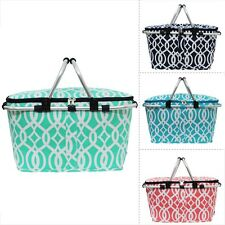 Geometric Vine Pattern Print Insulated Market Picnic Basket Cooler Tote Bag