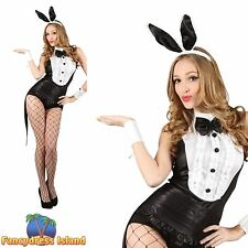 BLACK PLAYBOY BUNNY TUXEDO SEXY VALENTINE 6-24 Womens Ladies Fancy Dress Costume