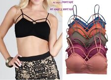 Criss Cross Caged Strappy Stash  Bra Crop Top Bralette Bustier Padded Multi