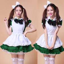 Japan Maid Outfit Costume dress Cosplay Sexy Green Lolita apron Black Bow Cute