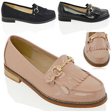 Womens Flat Loafers Casual Fringe Back Ladies Buckle Work School Pumps Shoes