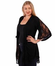 NEW Sexy Black Open Front Gothic Lace Inlays Cardigan Top 1X 2X 3X Womens Plus