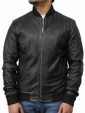 A2 70'S Retro Bomber Men'S Black Cool Classic Soft Italian Nappa Leather Jacket