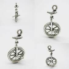 Unicycle bike Sport 925 Sterling Silver Charm Pendant w Spacer / Bracelet Chain
