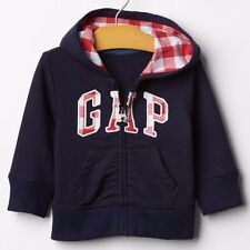 Gap Baby Boy Girl Blue red Gingham logo Cotton French Terry hoodie zip up Jacket