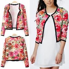 Vintage Spring Autumn Womens Casual Floral Cardigan Outwear Jacket Coat Overcoat