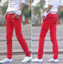 Stylish colors Mens slim fit trousers fight skin casual jean pencil pants