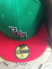 New Era LA Los Angeles Dodgers Fitted Hat Mexico Red Green colors Mexican flag