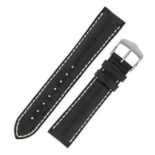 Hirsch MODENA Alligator Embossed Leather Watch Strap and Buckle in BLACK