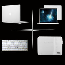 4 in 1 pofoko white sleeve bag pouch hard case keyboard cover For Apple macbook