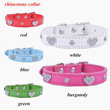 Lot 5 Personalized Diamante Collar Crystal Studded Pu Leather Dog Collars SZ S M