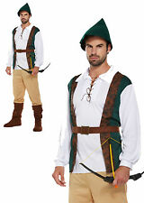 Mens Robin Hood Hunter Fancy Dress Costume Outfit Medieval Tudor Adult with Hat