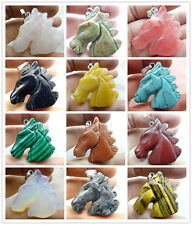 Beautiful Hand-carved horse's head Mixed agate PENDANT GEMSTONE LOOSE beads B3