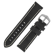 Hirsch KNIGHT Alligator Embossed Leather Watch Strap and Buckle in BLACK
