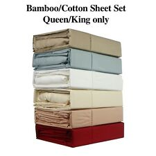 LUXURY 400TC BAMBOO COTTON SHEET SET - 6 COLOURS - QUEEN / KING BED SIZE - BC400