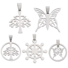 2PCs Stainless Steel Charm Silver Pendants Necklace
