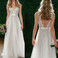 Formal Women Backless Lace Long Dress 8 Prom Evening Party Cocktail Maxi Wedding