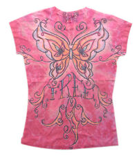 Teens Women Hot PINK FREE BUTTERFLY Graphic Printed Junior T-Shirt S-M-L-XL