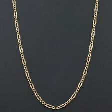 10k YELLOW or WHITE GOLD 2.1MM WIDE FANCY FIGARO LINK NECKLACE BRACELET