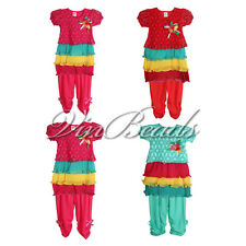 Colorful Rainbow Lace Brooch Pattern Shirt Casual Pants Girl Clothes Set