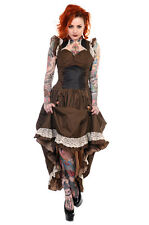Banned Steampunk Victoriana Long Brown & Black Striped Lace Trim Dress Burlesque